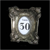 Antique silver table number frames for hire, centrepieces, Auckland