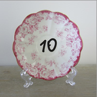 Vintage cake plate table numbers for hire, Centrepieces, Auckland