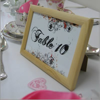 Wooden table number frames for hire, Auckland
