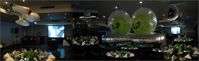UFO  alien themed centrepieces for event tables, Auckland