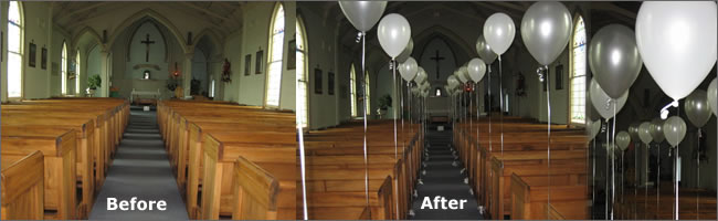 Church decor provided by Helium Balloons & Event Hire, Auckland , NZ