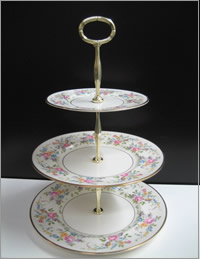 Pretty floral 3 tier vintage cup cake stand for hire, Auckland Centrepieces