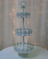 3 tier white French cupcake stand for hire, Auckland CBD