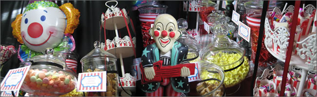 Vintage circus themed candy buffet hire, Auckland