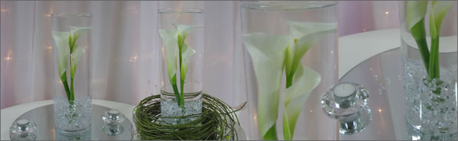 Calla lily wedding centrepieces for hire