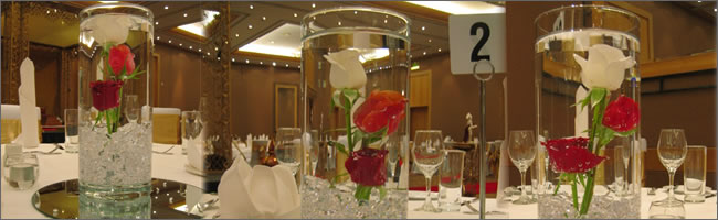 Flowers submersed under water centrepiece for hire, Weddings and Events, Auckland