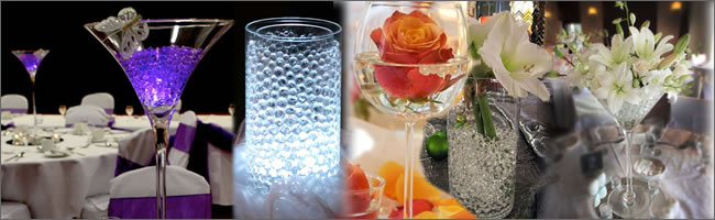 Crystal soil centrepieces for hire