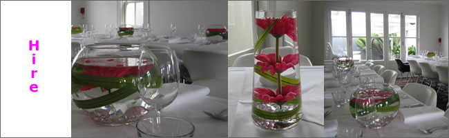Fishbowl and cylinder hire vases