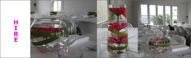 Fish bowl and tall vase centrepiece, Auckland