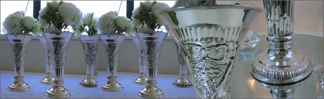 Silver wedding vases for hire, Auckland