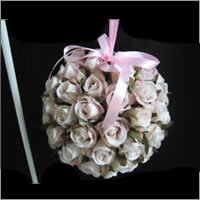 Rose topiary ball for weddings, Auckland  Centrepiece hire