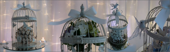 Vintage cream birdcages for hire. Centrepieces