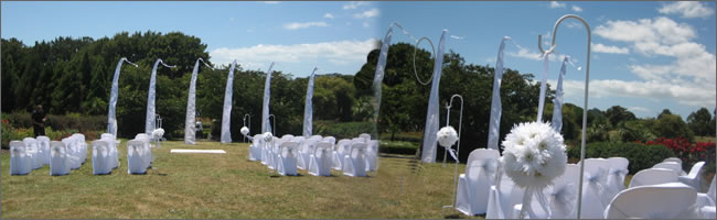 Outdoor wedding styling provided by Helium Balloons & Event Hire, Auckland, NZ