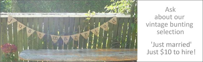 Vintage bunting for hire for weddings, Auckland