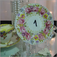 Vintage cake plate table numbers for hire, Auckland_Centrepieces