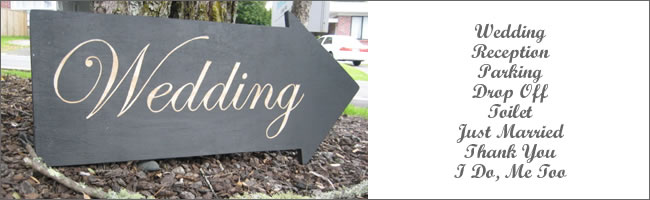 Wedding signs for hire, Auckland Hire