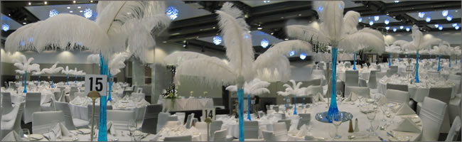 Table centrepieces wedding and event slideshows party hire ostrich feather wedding centrepieces for hire auckland junglespirit Choice Image