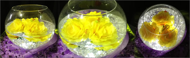 Yellow rose bowl centrepiece hire, Auckland