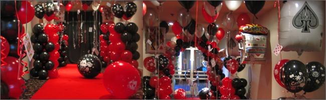 Casino themed event decorating, Auckland