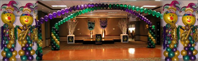 Mardi Gras themed event decorating