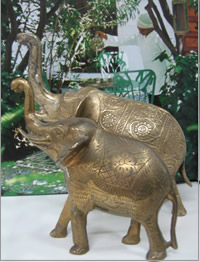 Brass elephants for hire for themed events, Table centrepieces, Auckland