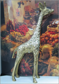 Brass giraffe prop for out of Africa themed events, Centrepieces