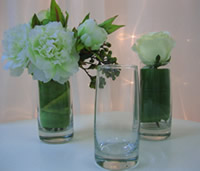 bridal and bridesmaid posy vases for  hire for wedding head table