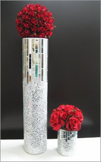 Mosaic cone vase for hire, centrepieces, Auckland